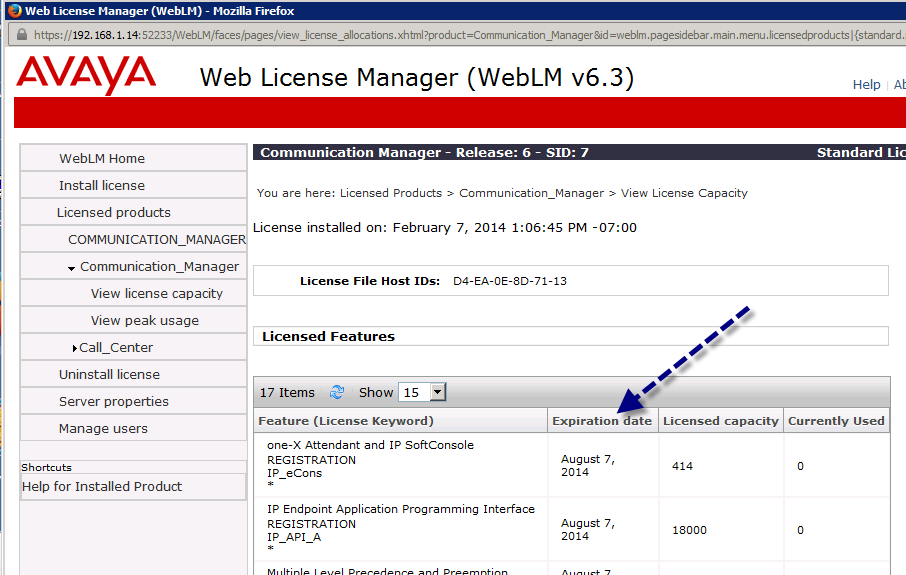 Communication Manager License Expiration Date