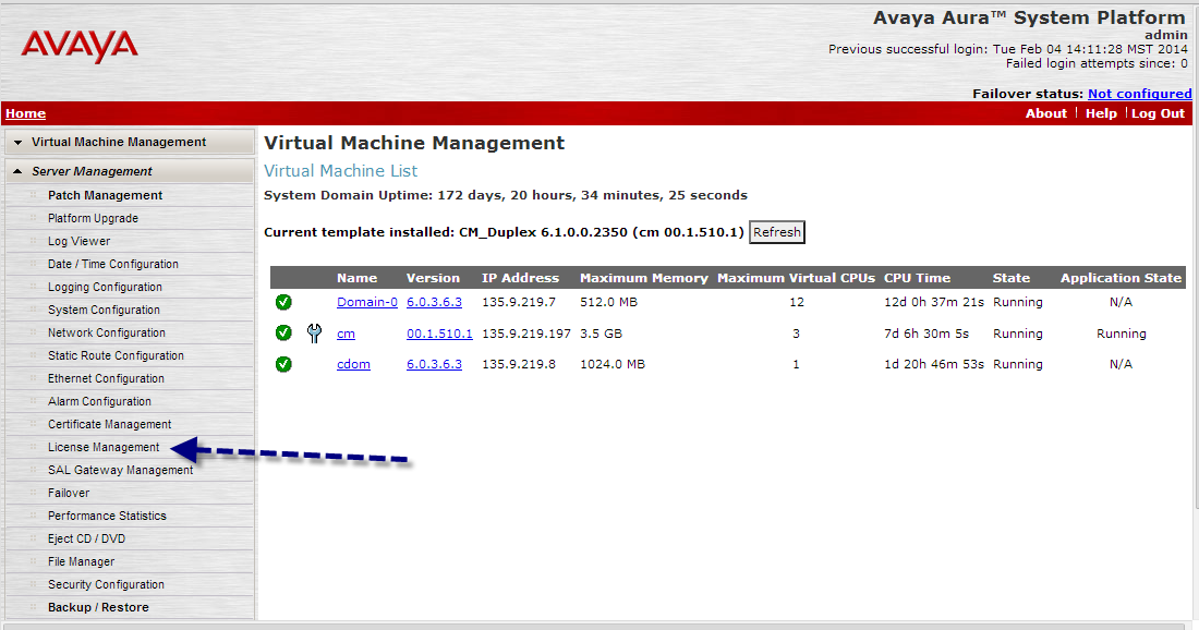 Virtual Machine Management screen